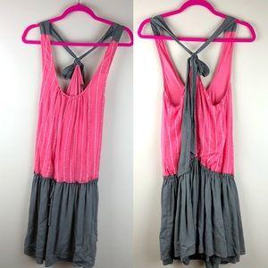 ELLA MOSS Gray and Pink Racerback Tie Dress